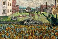 Bmw, Spielplatz, Sonnenblumen, Malerei