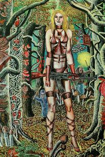 Frau, Waffe, Wald, Wahnsinn