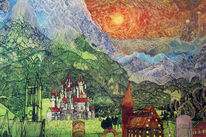 Hügel, Fantasie, Alpen, Schloss