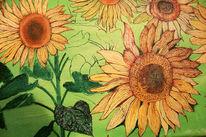 Sonnenblumen, Sommer, Bayer, Malerei