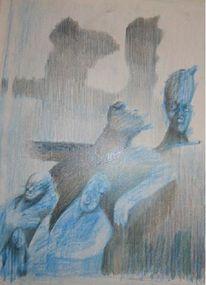 Zeichnung, Illustration, Blau, Buntstiftzeichnung