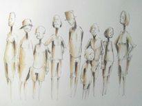 Zeichnung, Figural, Aquarellmalerei, Freunde