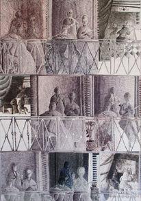 Balkon, Menschen, Innenraum, Mischtechnik