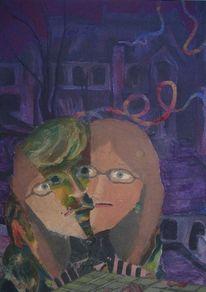 Zwei papierschlangen, Fassade, Ein gekeilter kopf, Pupille