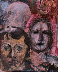 Kopffragmente, Ölskizzen, Bleistiftzeichnung, Postmodern
