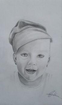 Junge, Zeichnung, Portrait, Gesicht