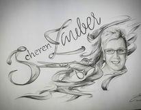 Logo, Frieseur, Brille, Schere
