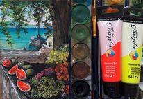 Baum, Meer, Boot, Kroatien