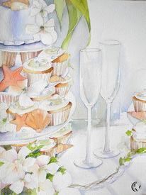 Glas, Aquarellmalerei, Meer, Malen
