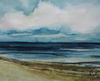Aquarellmalerei, Nordfriesland, Malen am meer, Landschaft