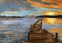 Abendstimmung, Landschaft, Sonne, Impressionismus