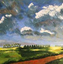 Baumreihe, Impressionismus, Wolken, Schatten