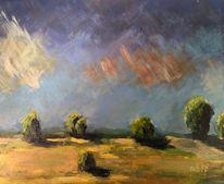 Impressionismus, Baum, Landschaft, Wolken