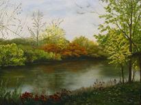 Acrylmalerei, Fluss, Ufer, Herbst