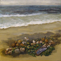 Strand, Acrylmalerei, Collage, Meer muscheln