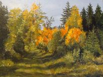 Herbst, Acrylmalerei, Eifel, Wald