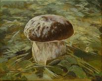 Steinpilz, Acrylmalerei, Wald, Herbst