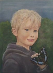 Junge, Schmetterling, Kind, Ölmalerei