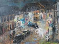 Zwielicht, Auto, Straße, Malerei