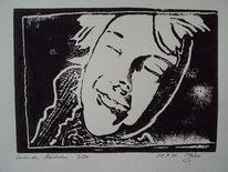 Holzschnitt, Druckgrafik, Linoldruck, Mädchen