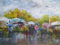 Stadt, Regen, Markt, Malerei