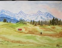 Alpenpanorama, Aquarellmalerei, Landschaft, Aquarell