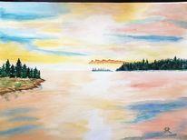 See, Aquarellmalerei, Landschaft, Aquarell
