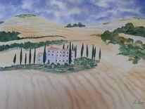 Aquarellmalerei, Aquarell, Toskana, Haus