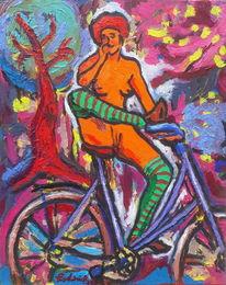 Baum, Frau, Romantik, Fahrrad