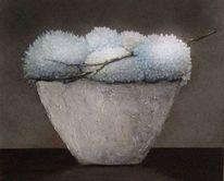 Blaue hortensien, Blau, Weiß, Gesteck