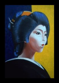 Portrait oil ukiyo, Japan, Geisha, Malerei