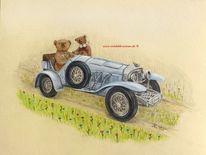 Fantasie, Oldtimer, Im grünen, Teddybär