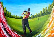 Ball, Abschlag, Golf, Malerei