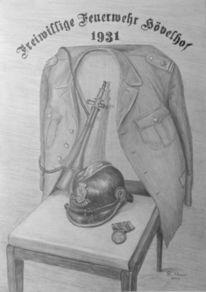 Geschichte, Bleistiftzeichnung, Lederhelm, Feuerwehr hövelhof