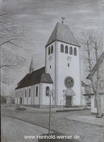 Kirche, Landschaft, Bleistiftzeichnung, Zeichnungen