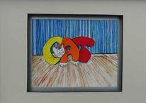 Orange, Katze, Gelb, 3d