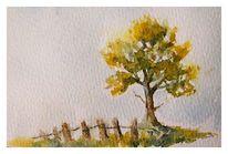 Laub, Aquarellmalerei, Baum, Herbst