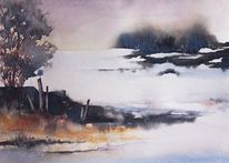 Winter, Frost, Landschaft, Aquarellmalerei