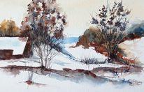 Aquarellmalerei, Gemälde, Winter, Dünen