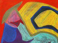 Blau, Orange, Pastellmalerei, Abstrakt