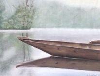 Boot, Einbaum, Pastellmalerei, Stimmung