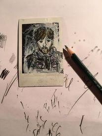 Zeichnung, Mischtechnik, Portrait, Menschen