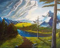 Malerei, Wolken, Berge, Natur