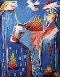Schlechte nachrichten, Ölmalerei, Modern, Stier