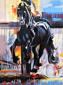 Galopp, Odenwald, Friese, Ölmalerei
