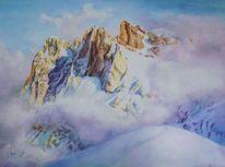Mudau, Aquarellmalerei, Alpen, Bergaquarell