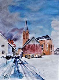 Schnee, Aquarellmalerei, Matsch, Spuren