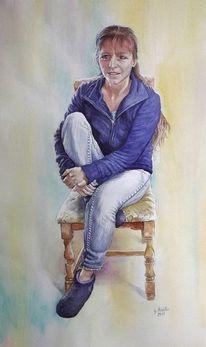 Aquarellmalerei, Freundin, Gemälde, Portrait