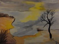 Sonnenuntergang, Landschaft, Stille, Abendstimmung