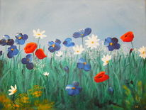 Blumen, Frohesbeisammensein, Feld, Pflanzen